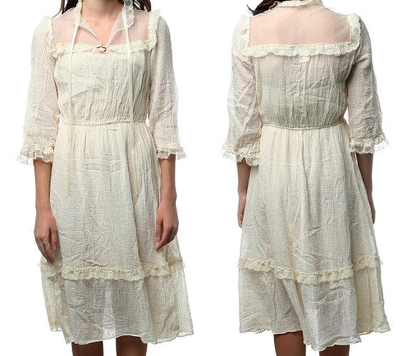 Bohemian gauze and lace dress fashion trend 2012