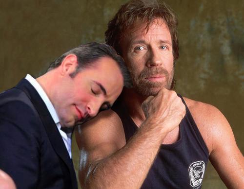 Jean Dujardin and Chuck Norris