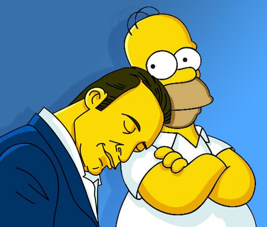 Jean Dujardin and Homer Simpson