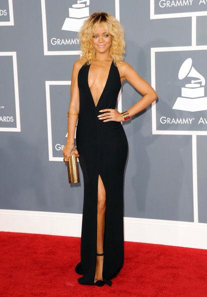 Rihanna in Armani at the 2012 Grammy Awards