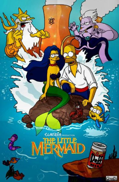 Simpsons Characters in Movie Posters Mermaid