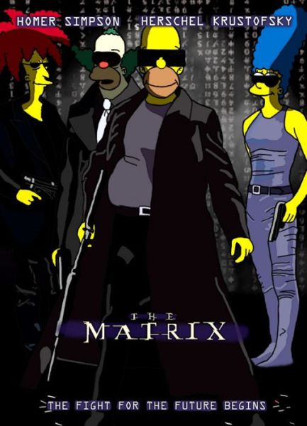 Simpsons Characters in Movie Posters Matrix