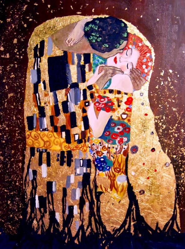Gustav Klimt inspired art - The Kiss reinterpretation 11