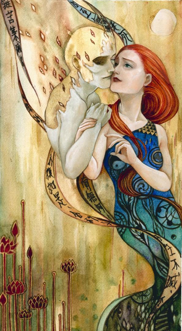 Gustav Klimt inspired art - The Kiss reinterpretation 3