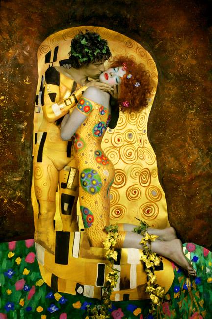 Gustav Klimt inspired art - The Kiss reinterpretation 6