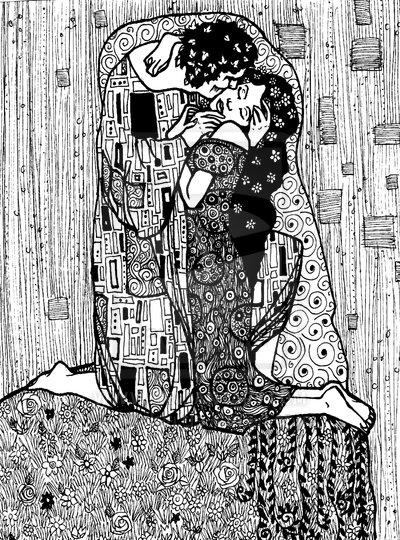 Gustav Klimt inspired art - The Kiss reinterpretation 7