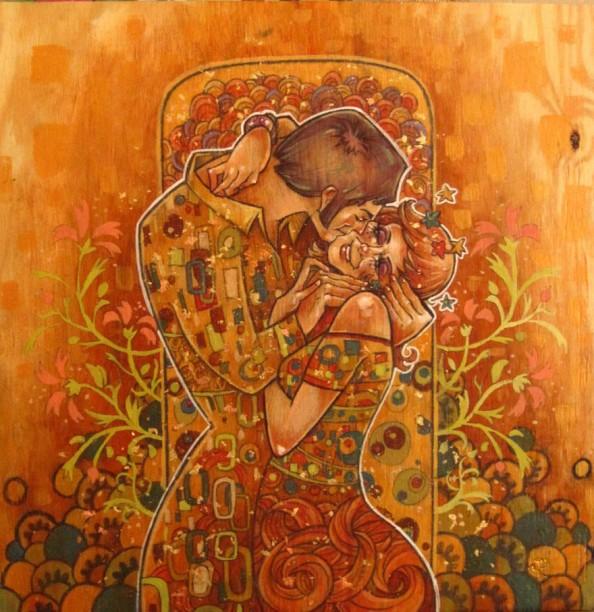 Gustav Klimt inspired art - The Kiss reinterpretation 9