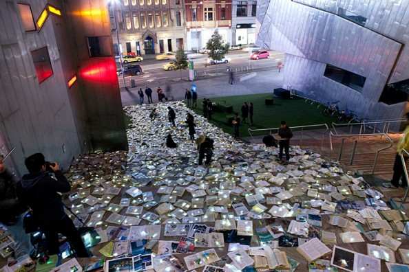 Literature vs traffic in Federation Square, Melbourne, by Luzinterruptus 11