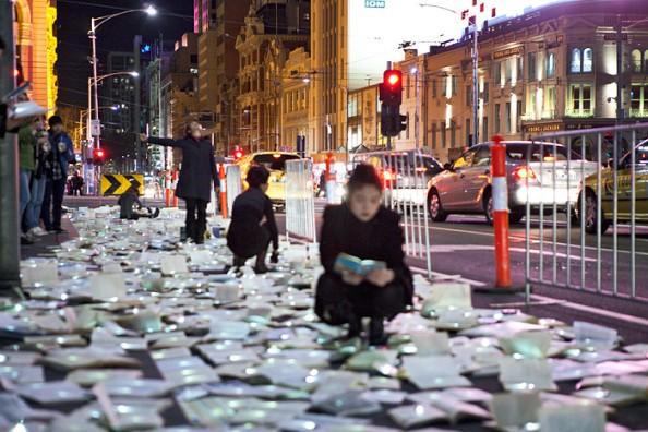Literature vs traffic in Federation Square, Melbourne, by Luzinterruptus 12