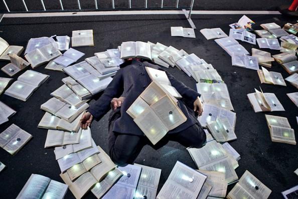 Literature vs traffic in Federation Square, Melbourne, by Luzinterruptus 14