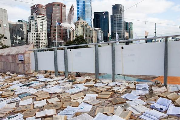 Literature vs traffic in Federation Square, Melbourne, by Luzinterruptus 15