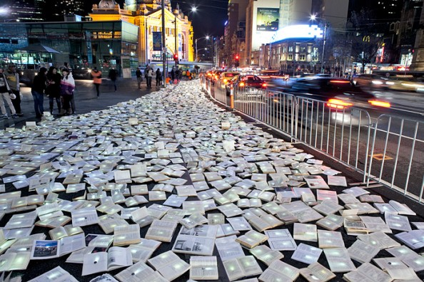 Literature vs traffic in Federation Square, Melbourne, by Luzinterruptus 3