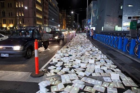 Literature vs traffic in Federation Square, Melbourne, by Luzinterruptus 5