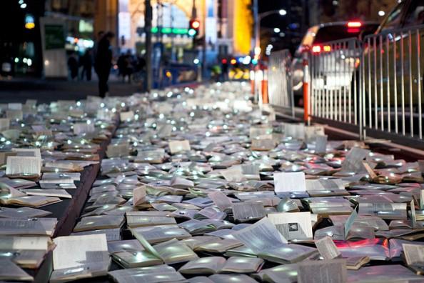Literature vs traffic in Federation Square, Melbourne, by Luzinterruptus 9