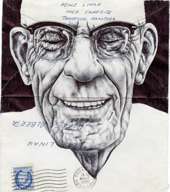 Mark Powell Biro Pen Drawings on Antique Envelopes 13