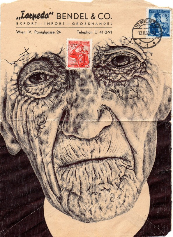 Mark Powell Biro Pen Drawings on Antique Envelopes 15