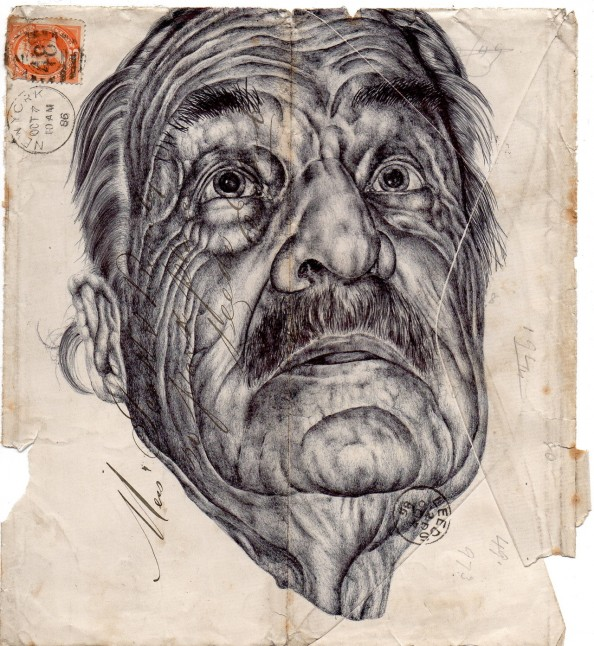 Mark Powell Biro Pen Drawings on Antique Envelopes 7