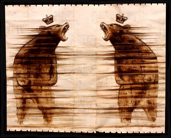 Coffee Paintings on Antique Ledger Paper by Michael Aaron 1