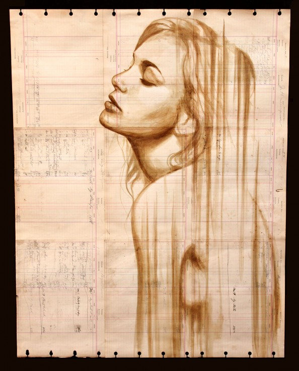 Coffee Paintings on Antique Ledger Paper by Michael Aaron 3