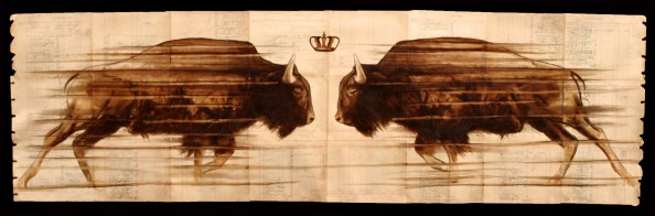 Coffee Paintings on Antique Ledger Paper by Michael Aaron 6