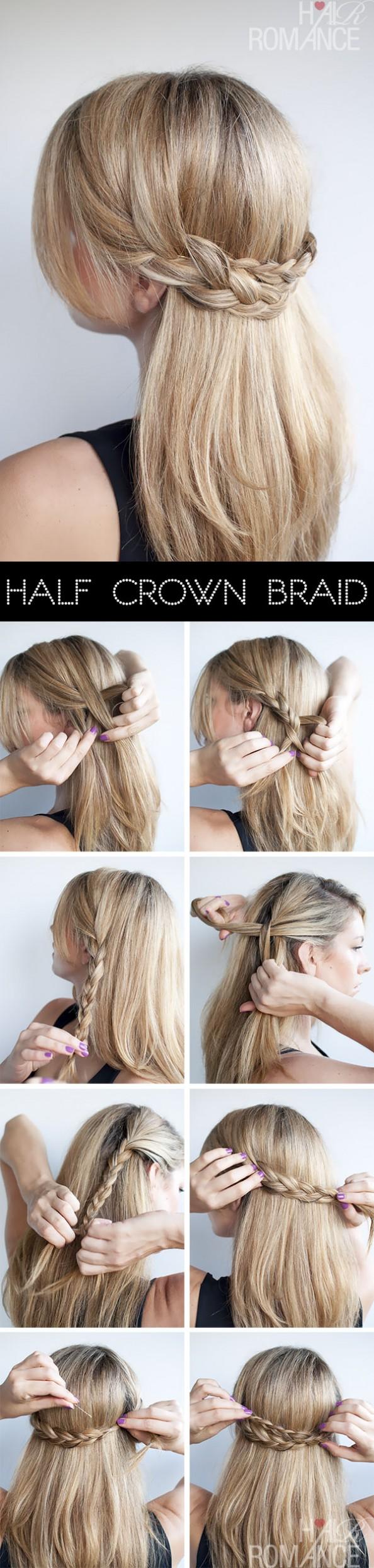 Hair Romance hairstyle tutorial half crown braid
